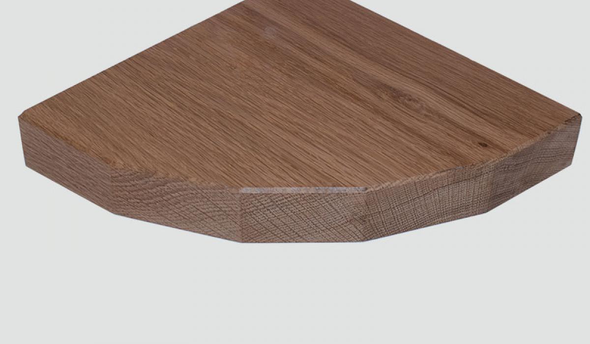 5 sided oak corner shelf