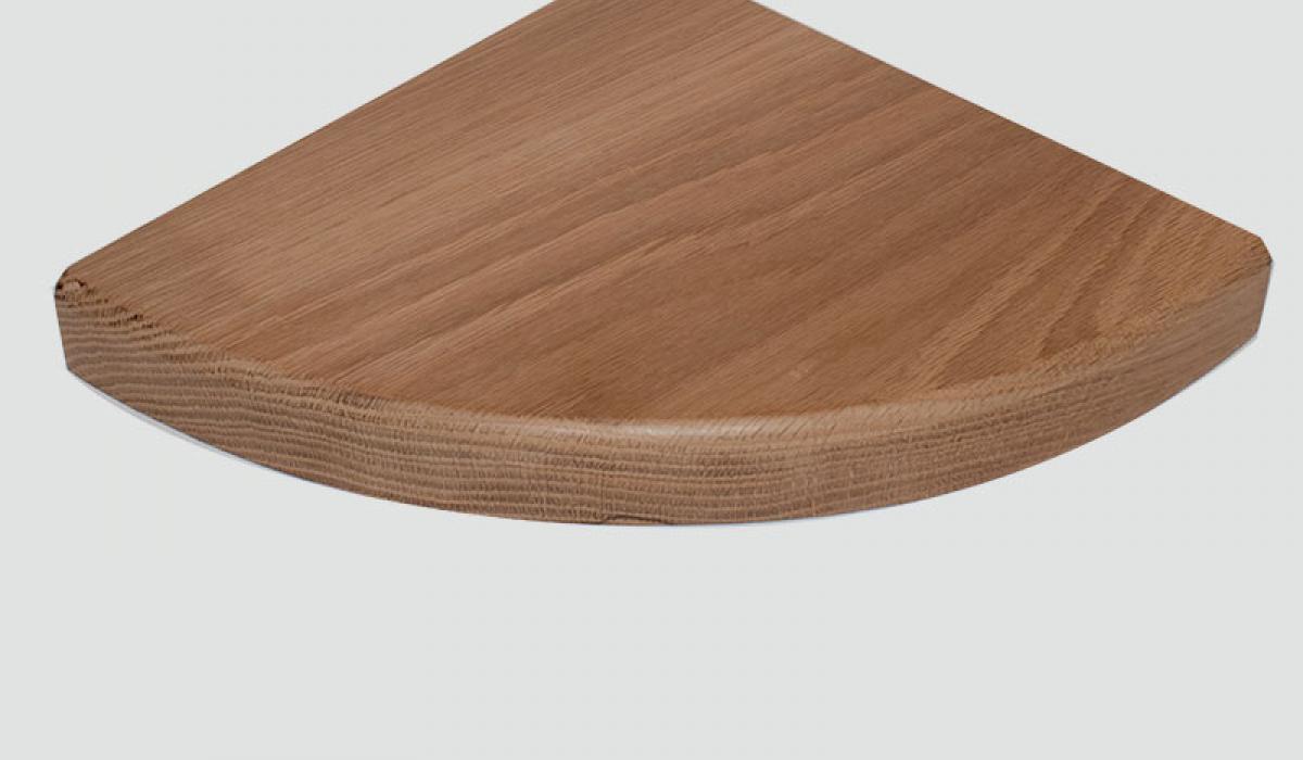 radius oak corner shelf