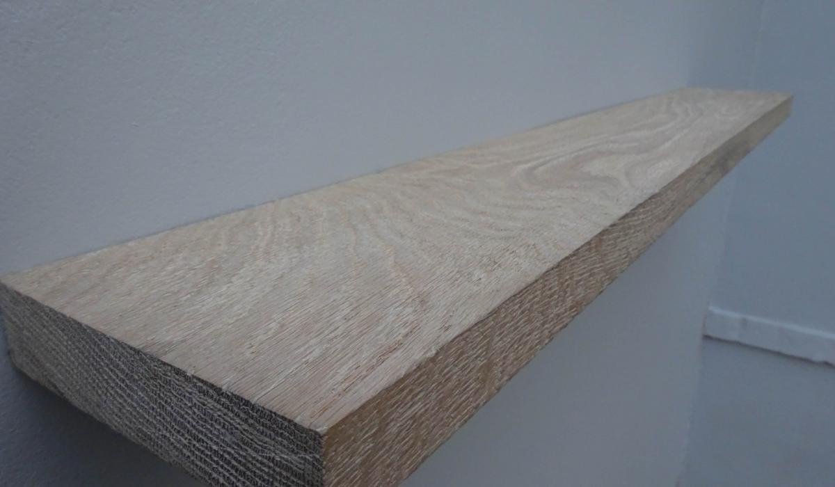 side weathered rustic oak shelf